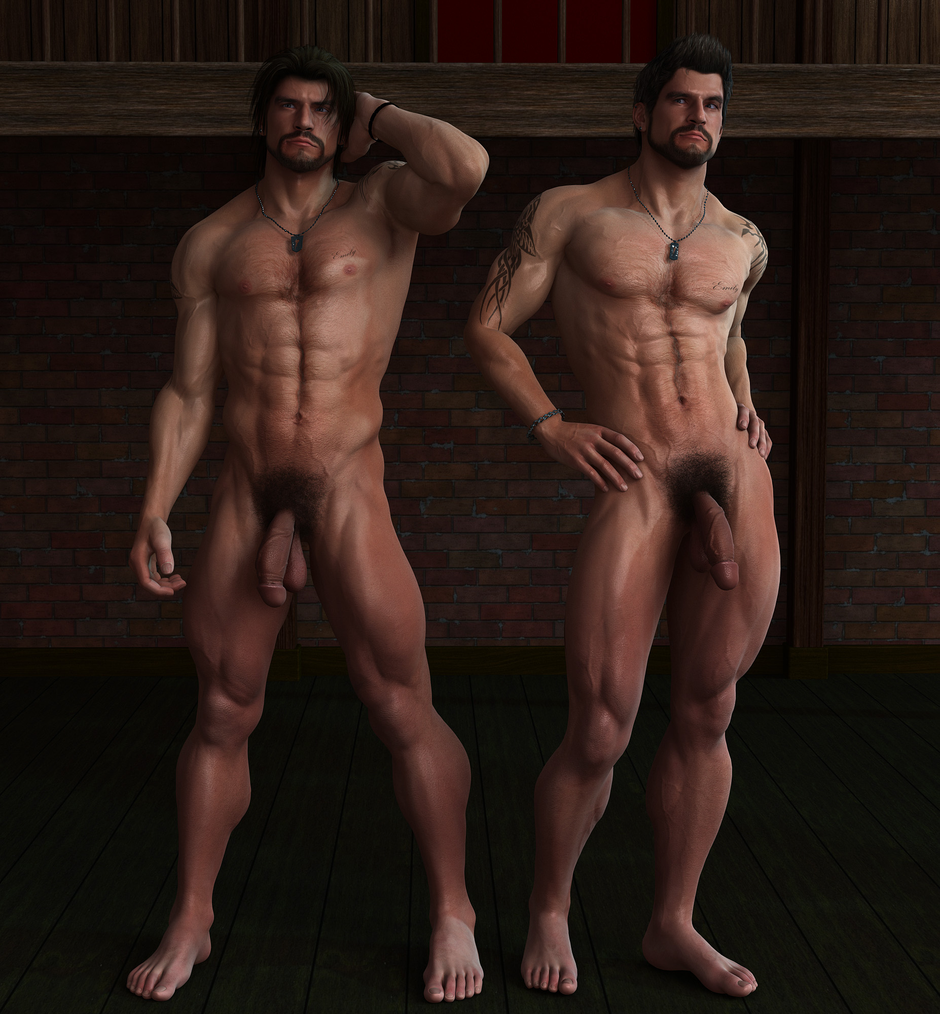Nude Men Hung