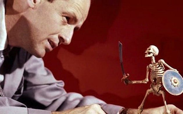 Ray Harryhausen With Fighting Skeleton