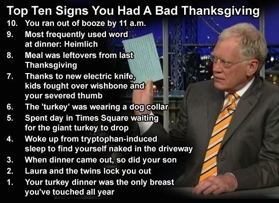 letterman turkey day top ten