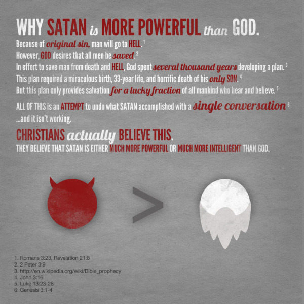 Satan is more powerful than God by Christian consensus.