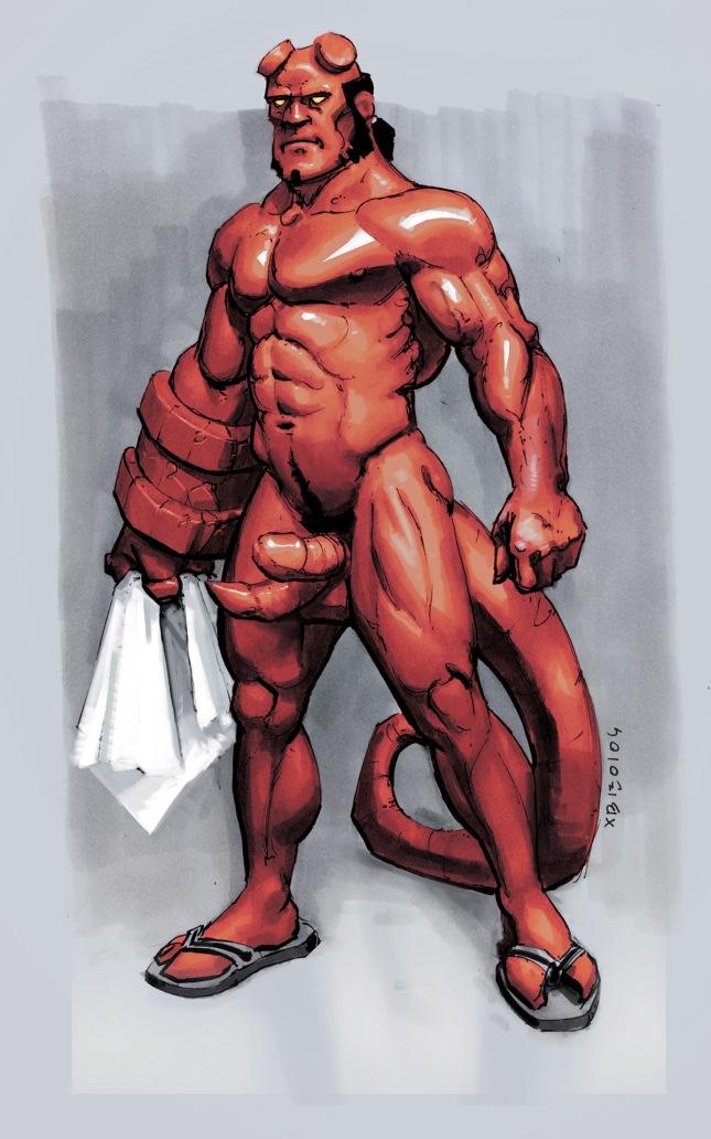 Hellboy Naked