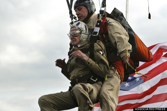 Jim Marin tandem parachute dives into Normandy
